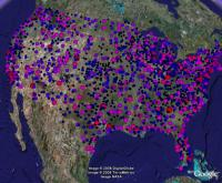 Busiest Airports in the USA, in Google Earth