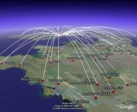 All Domestic Airline Routes, in Google Earth