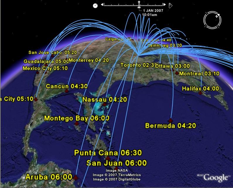 Google Earth VisualizationInternational Flights from Chicago