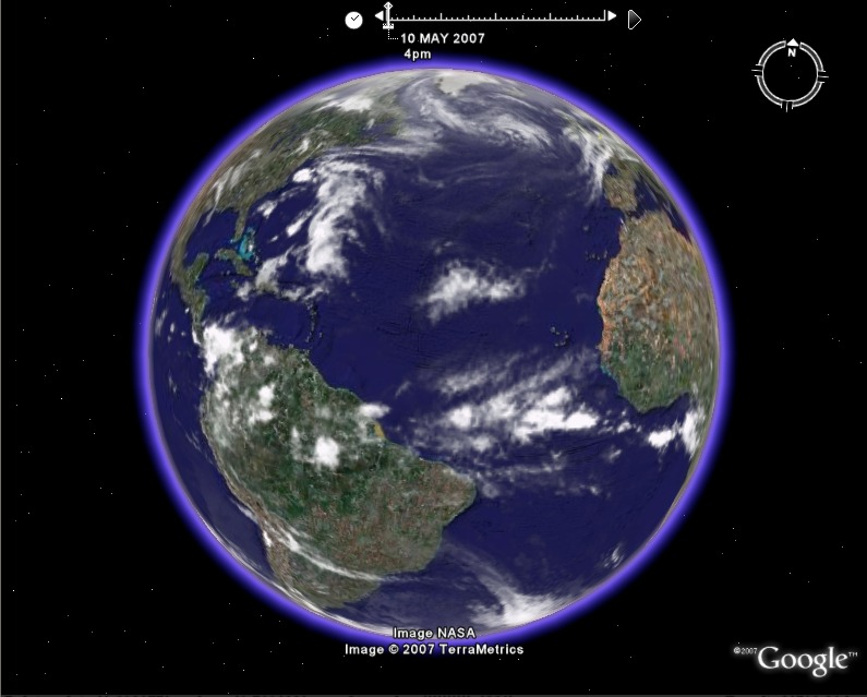 Global weather animation in google earth