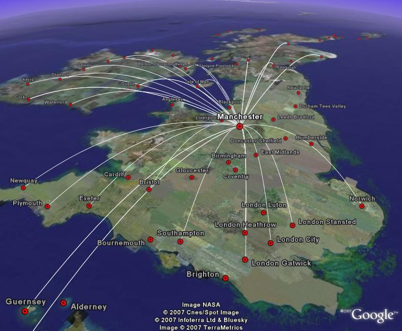 Google Earth Visualizationuk And Ireland Flight Maps