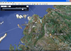 Satellites Colliding in Google Earth