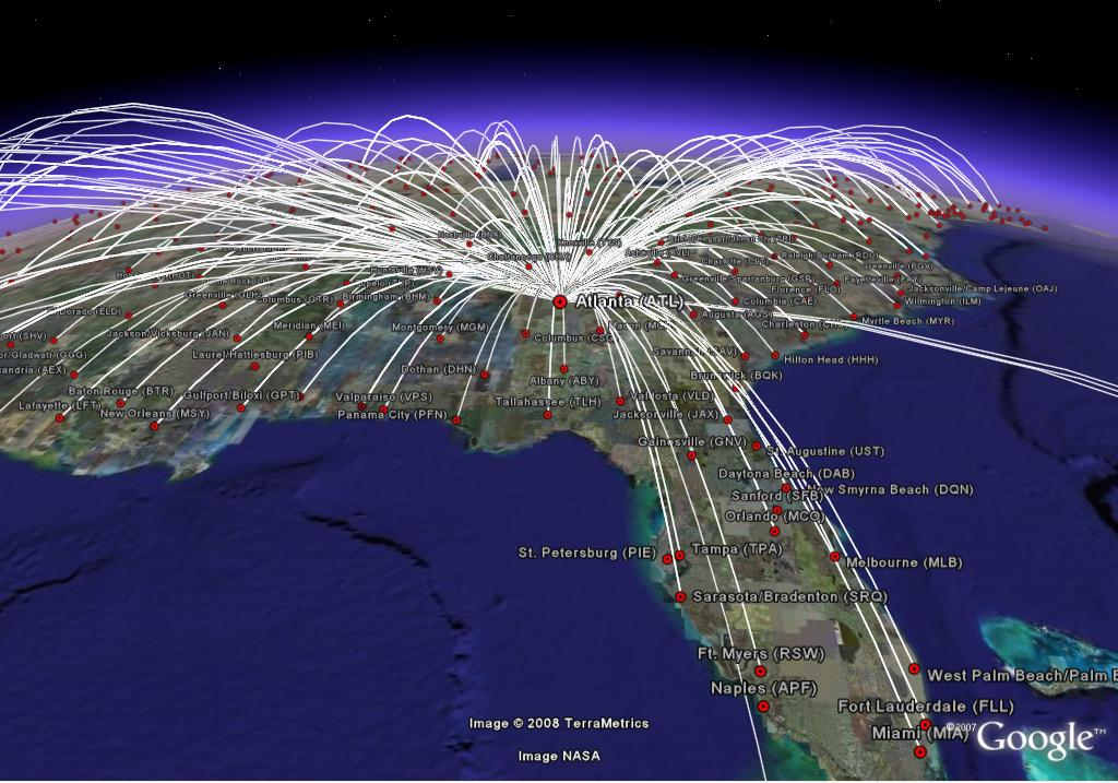 usa flight map all routes all airlines google earth